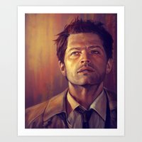 castiel Art Prints featuring Castiel by Amanda Shae