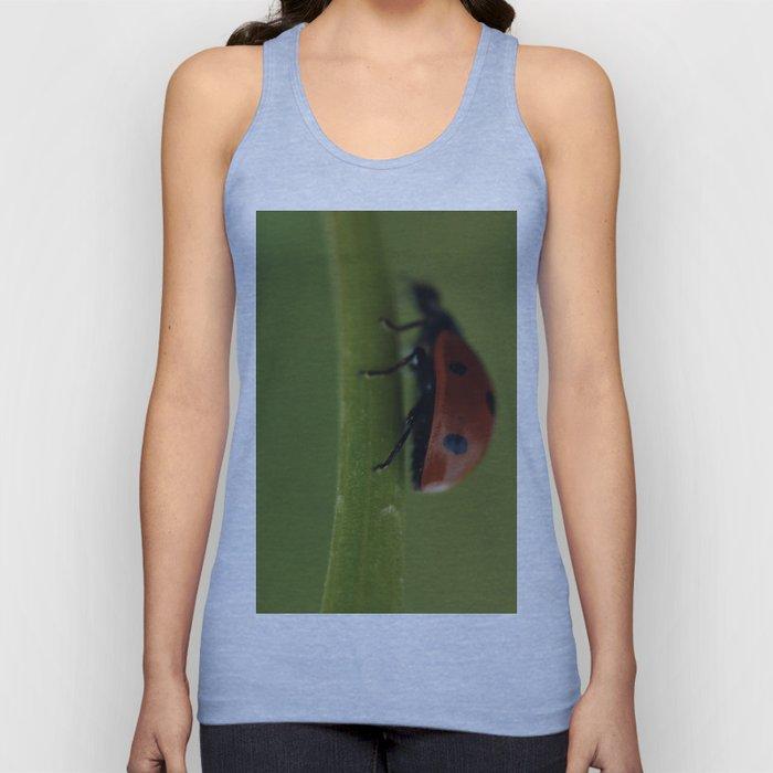 Ladybird on a Flower, macro photography, home, still life, fine art, animal love, nature photo Unisex Tank Top