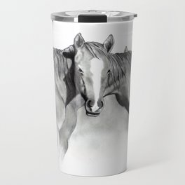 Horse Mare and Foal, Pencil Drawing, Equine Art Travel Mug