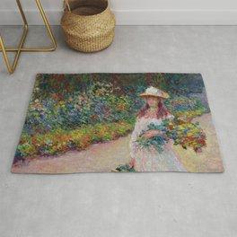 """Claude Monet """"Jeune fille dans le jardin de Giverny"""" Rug"""