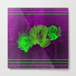 Triple Modern Roses With Stripes Metal Print