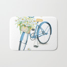 Vintage Blue Bicycle with Camomile Flowers Bath Mat