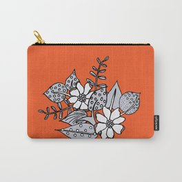 Orangey Gray Floral Carry-All Pouch