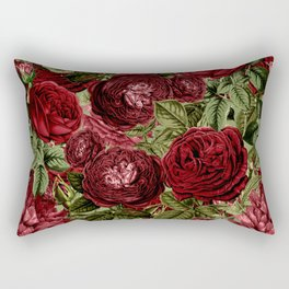 Vintage  & Shabby Chic - Dark Red Roses Retro Pattern Rectangular Pillow