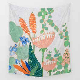 Proteas and Birds of Paradise Painting Wall Tapestry