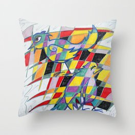 Birdopoly Throw Pillow