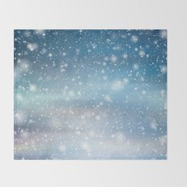 Snow Bokeh Blue Pattern Winter Snowing Abstract Throw Blanket