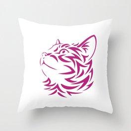 Looking Left Cat Kitten Face Stencil Throw Pillow