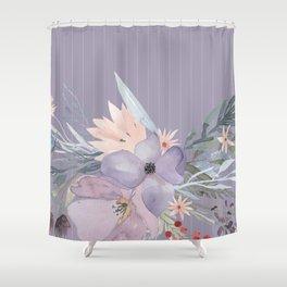 Striped Floral Lavender Bouquet Shower Curtain