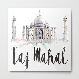 Taj Mahal watercolor Metal Print