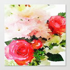 Garden Roses Watercolor Canvas Print