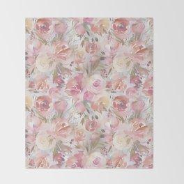 Blush pink coral orange watercolor elegant floral Throw Blanket