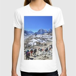 Trekking in Himalaya. Group of hikers  with backpacks   on the trek in Himalayas, trip  to the base  T-shirt