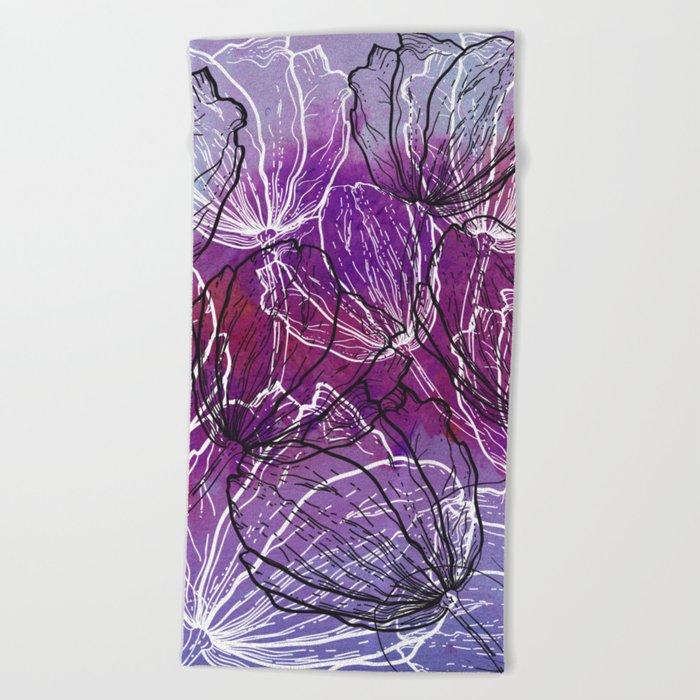 Colorful Flower Fantasy Beach Towel
