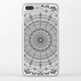 Mandala Project 626 | Black and White Lace Mandala Clear iPhone Case
