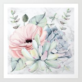 Pretty Succulents on Marble by Nature Magick Art Print