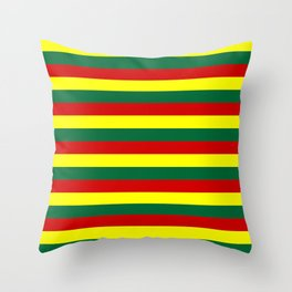 red green yellow stripes Throw Pillow