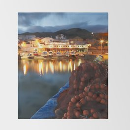 Fishing harbour Throw Blanket