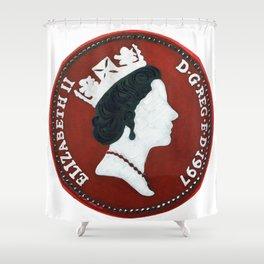 Queen Elizabeth -5 pence - The Queens Mint Series Shower Curtain