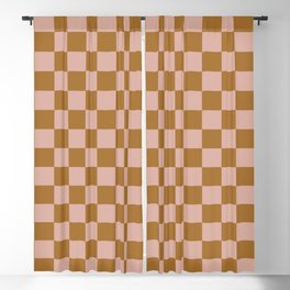 Clay Check Blackout Curtain