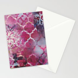Mixed Media Layered Patterns - Deep Fuchsia Stationery Cards