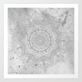 gray splash mandala swirl boho Art Print