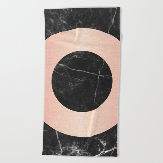 Black Marble with Pink Circle Beach Towel
