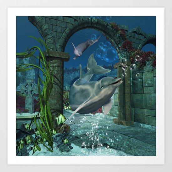 Wonderful dolphin Art Print