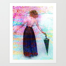 AND SHE WALKED INTO SPRING Art Print