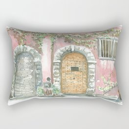 Doors on pink wall, Lyon , France Rectangular Pillow