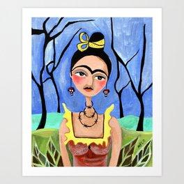 Frida in the Woods Art Print