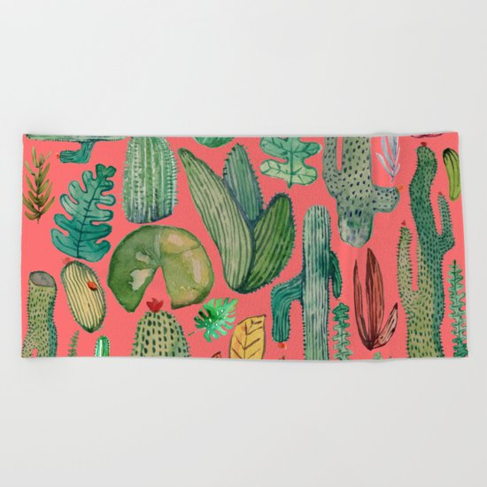 Summer Nature in Pink Beach Towel