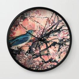 Blue Bird Blossom 1  Wall Clock