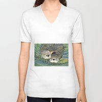 otters V-neck T-shirts featuring Pair of Otters by Sandra Dean Wilson