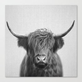 Highland Cow - Black & White Canvas Print