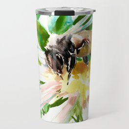 Bee and Flower, Honey Bee, chamomile herbal honey design Travel Mug