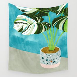 Variegated Monstera #tropical #painting #nature Wall Tapestry