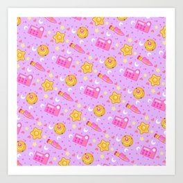 Usagi's Items Pattern / Sailor Moon  Art Print