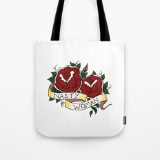 Nasty Woman and Roses Tattoo Flash Tote Bag