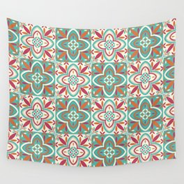 Peranakan Art Nouveau Tiles (Floral Star in Candied Colours) Wall Tapestry