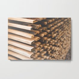 Freshly Cut Wood Stacked for Lumber Air Drying Metal Print