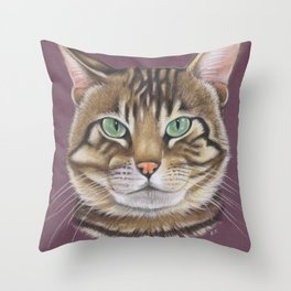 Arnie Tabby Tomcat Kitty Pastel Art Throw Pillow