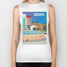 Wichita, Kansas - Skyline Illustration by Loose Petals Biker Tank