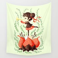 trumpet Wall Tapestries featuring Spring Melody by Freeminds