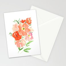 CORAL FLORALS Stationery Cards