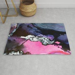 Pink and Navy Mixed Media Painting Rug