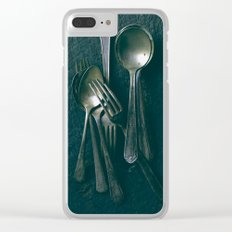 Beautiful Vintage Spoons on Black Clear iPhone Case