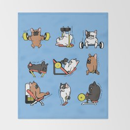 Leg Day with French Bulldog Throw Blanket