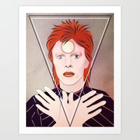 david bowie Art Prints featuring David Bowie by Artsy Fandango