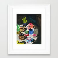 Framed Art Prints featuring Suspicious mugs by Zsalto